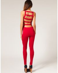 ASOS Collection | Red Asos Slash Back Unitard | Lyst