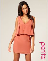ASOS Collection - Orange Asos Petite Plain Drape Crop Top Dress - Lyst