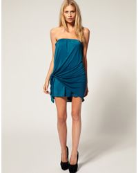 ASOS Collection - Natural Asos Petite Exclusive Slinky Bandeau Dress with Tie Side - Lyst