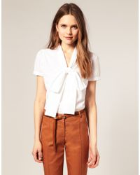 ASOS Collection | Natural Asos Short Sleeve Pussybow Cotton Blouse | Lyst