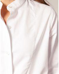 ASOS Collection | White Asos Textured Bib Boyfriend Shirt | Lyst