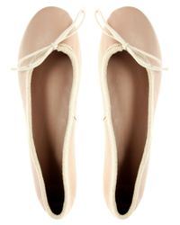 ASOS | Pink Asos Lady Leather Bow Ballet Pumps | Lyst
