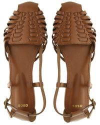 ASOS   Brown Asos Mex Leather Woven Flat Shoe   Lyst