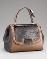 Fendi | Brown Silvana Croc & Stingray Bag | Lyst