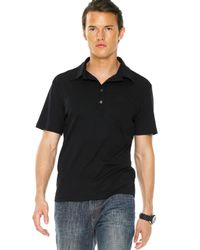 Michael Kors - Button Polo, Black for Men - Lyst