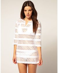River Island | Natural Crochet Mini Beach Dress Cover Up | Lyst