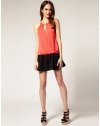 River Island - Orange Chain Neck Tunic Top - Lyst