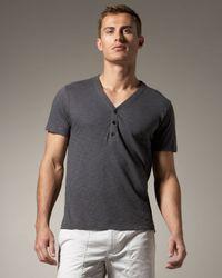 Theory | Gray Short-sleeve V-neck Henley, Magnet for Men | Lyst