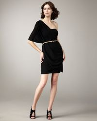 Alice + Olivia | Black Bara One Shoulder Wrap Dress | Lyst