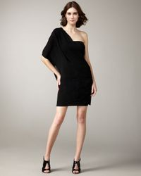 Alice + Olivia - Black Bara One Shoulder Wrap Dress - Lyst