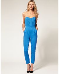 ASOS Collection - Blue Asos Pleated Bust Jumpsuit - Lyst