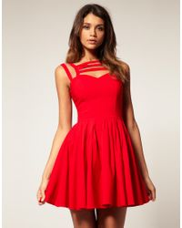 ASOS Collection - Red Asos Full Skirt Dress with Multi Strap - Lyst