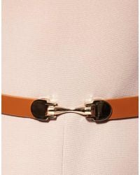 ASOS Collection - Pink Asos Midi Dress with Contrast Belt - Lyst