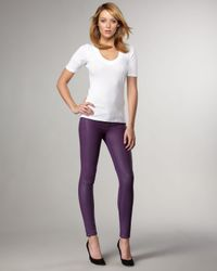 Bleu Lab   Purple Reversible Denim Leggings, French Chalk   Lyst
