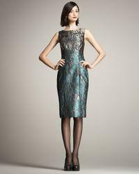 Carolina Herrera | Blue Metallic Jacquard Dress | Lyst