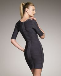 Hervé Léger - Gray Half-sleeve Bandage Dress, Anthracite - Lyst