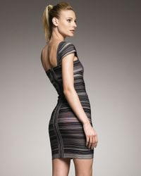 Hervé Léger | Green Striped Cap-sleeve Bandage Dress | Lyst