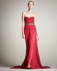 Jason Wu - Red Strapless Chiffon Gown - Lyst
