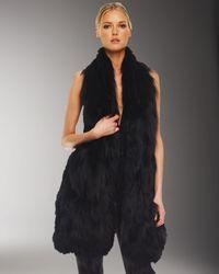 Michael Kors | Black Long Knit Fur Vest | Lyst