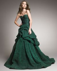 Monique Lhuillier | Green Tufted-skirt Strapless Gown | Lyst