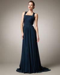 Pamella Roland | Blue Square-neck Chiffon Gown | Lyst