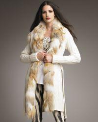 Roberto Cavalli | White Long Cardigan with Detachable Fox Collar | Lyst