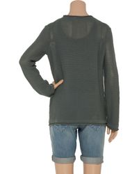 T By Alexander Wang | Gray Rolled-neck Cotton-knit Sweater | Lyst