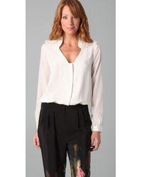 Tibi | White Button Down Blouse Bodysuit | Lyst