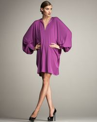Saint Laurent - Purple Oversized Bishop-sleeve Dress - Lyst