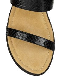 Elizabeth and James   Black Boca Leather and Raffia Wedge Sandals   Lyst