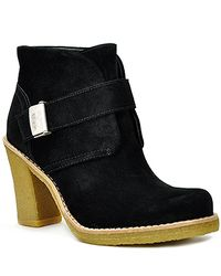 UGG | Brienne - Black Suede Crepe Heel Bootie | Lyst