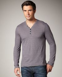 7 For All Mankind | Blue Striped V-neck Henley for Men | Lyst