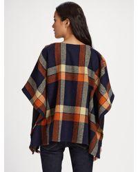 A.P.C. | Orange Wool Tartan Poncho | Lyst