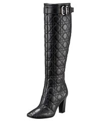 Dior | Black Buckled Cannage Boot | Lyst