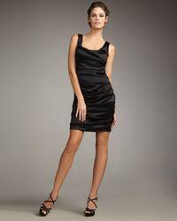 Elie Tahari | Black Sadie Ruched Satin Dress | Lyst