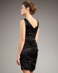 Elie Tahari Black Sadie Ruched Satin Dress