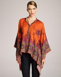 Etro | Orange Paisley Pattern Poncho | Lyst