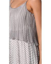 Halston | Gray Polka Dot Pleated Dress | Lyst
