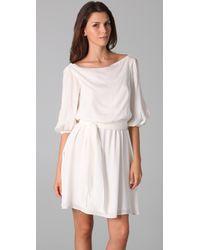 Halston - White Long Sleeve Dress with Gathered Waist - Lyst