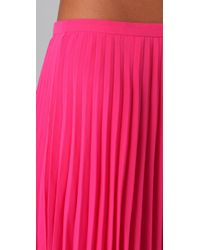 Halston | Pink Short Pleated Skirt | Lyst