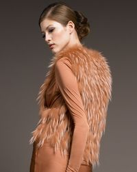 J. Mendel | Brown Raccoon & Tulle Vest | Lyst
