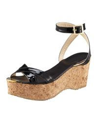 Jimmy Choo | Black Panther Patent Cork Wedge Sandal | Lyst