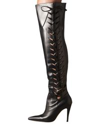 Manolo Blahnik | Black Lace-Up Cutout Over-The-Knee Boot | Lyst