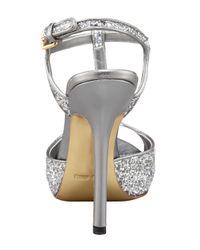 Miu Miu - Metallic Glitter T-strap Peep-toe Sandal, Silver - Lyst