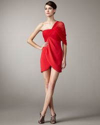 Notte by Marchesa - Red One-shoulder Chiffon Draped Dress - Lyst