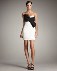 Notte by Marchesa White Bow-front Contrast Dress