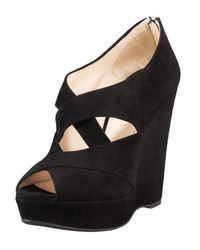 Prada | Black Criss Cross Wedge Bootie | Lyst