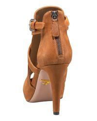 Prada - Brown Multi-buckle Peep Toe Bootie - Lyst