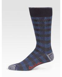 Robert Graham | Blue Check-stripe Dress Socks for Men | Lyst
