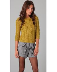 Tibi | Green Chunky 3/4 Sleeve Sweater | Lyst